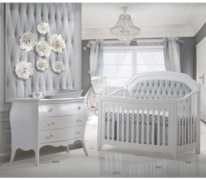 Natart Allegra Crib In White With Tufted Panel In Linen Grey And Dresser