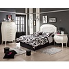 Natart Natart Allegra Full Bed In French White With Tufted Panel In White, Lingerie Chest, Night Stand