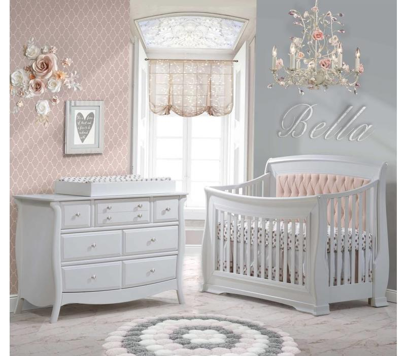 Natart Bella Crib In White With Tufted Panel In Blush, Double Dresser, And Changing Tray