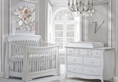 Natart Natart Bella Crib In White With Tufted Panel In Linen Gray, Double Dresser, And Changing Tray