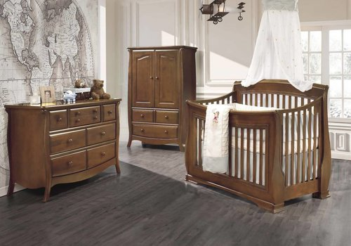 Natart Natart Bella Crib In Walnut, Double Dresser, And Armoire