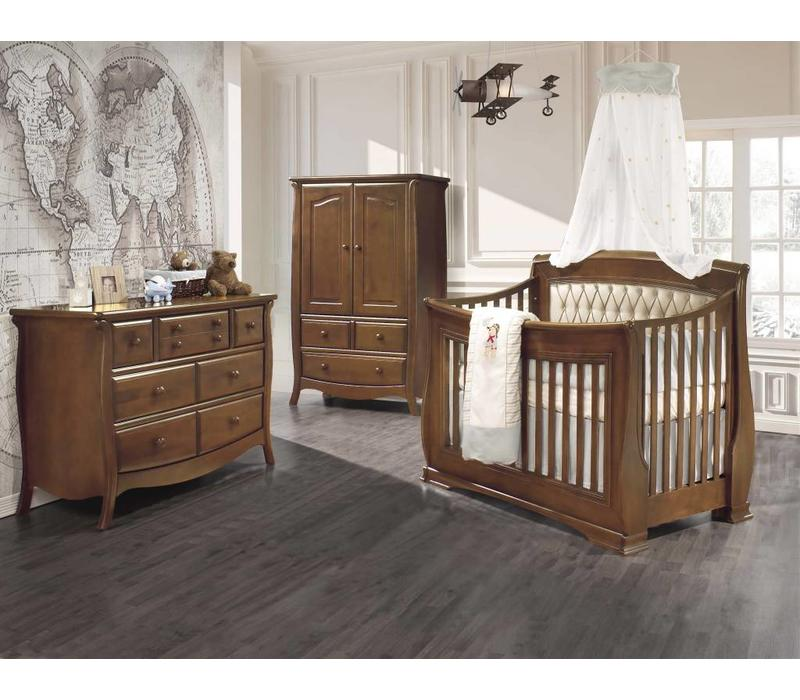 Natart Bella Crib In Walnut With Tufted Panel In Platinum, Double Dresser, And Armoire
