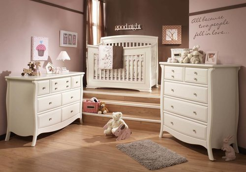 Natart Natart Bella Crib In Linen, Double Dresser, And 5 Drawer Dresser