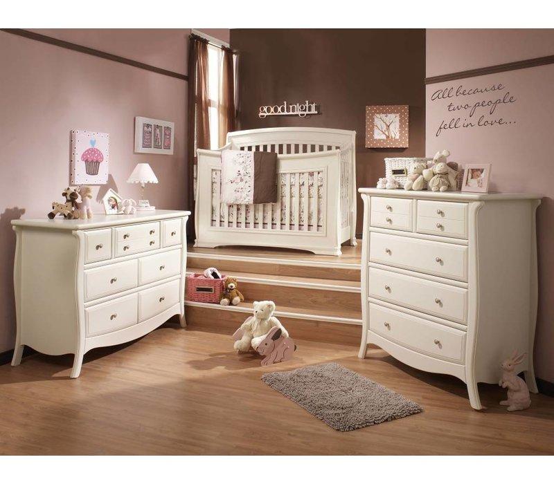 Natart Bella Crib In Linen, Double Dresser, And 5 Drawer Dresser