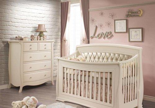 Natart Natart Bella Crib In Linen With Tufted Panel In Platinum, And 5 Drawer Dresser