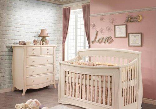 Natart Natart Bella Crib In Linen, And 5 Drawer Dresser