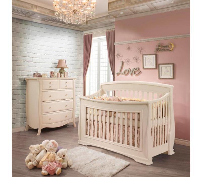 Natart Bella Crib In Linen, And 5 Drawer Dresser