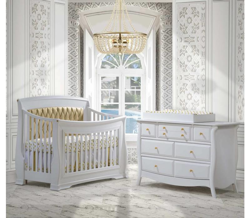 Natart Bella Gold Crib In White With Tufted Panel In Gold, Double Dresser, And Changing Tray