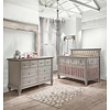Natart Belmont Crib In Stone Grey With Tufted Panel In Platinum, And Double Dresser