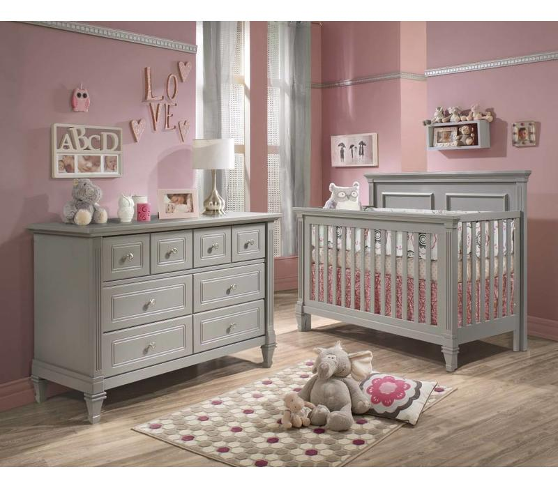 Belmont Crib In Elephant Grey , And Double Dresser
