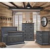 Natart Natart Cortina Crib IN Black Chalet With Cognac, Double Dresser And 5 Drawer Dresser