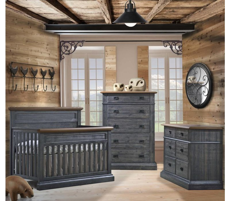 Natart Cortina Crib IN Black Chalet With Cognac, Double Dresser And 5 Drawer Dresser