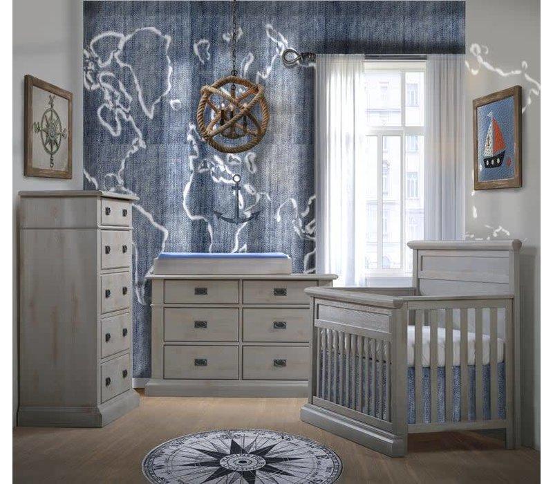 Natart Cortina Crib IN Grey Chalet , Double Dresser,5 Drawer Dresser, And Changer
