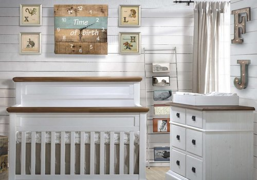 Natart Natart Cortina Crib IN White Chalet With Cognac, Double Dresser, 5 Drawer Dresser, And Changer
