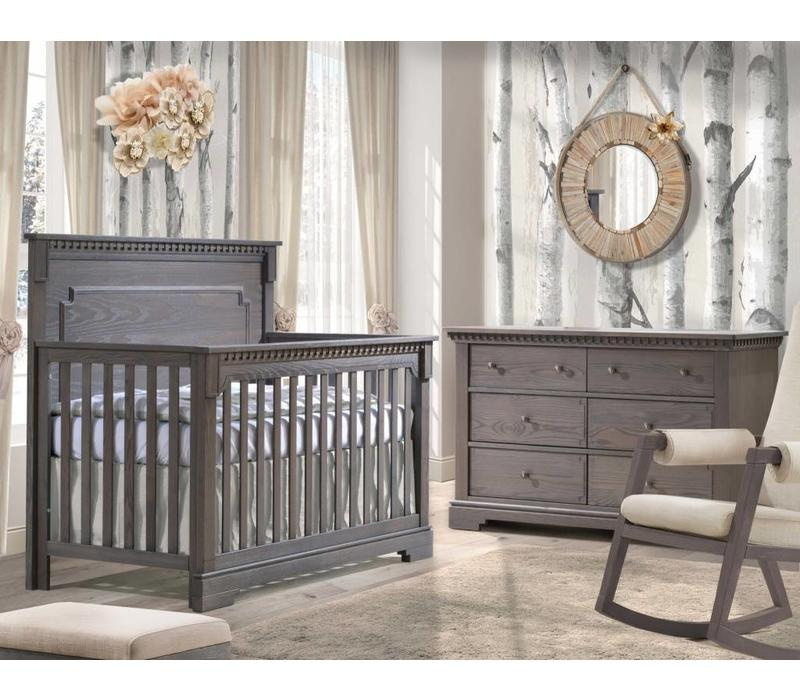 Natart Ithaca Convertible Crib In Grigio With Double Dresser