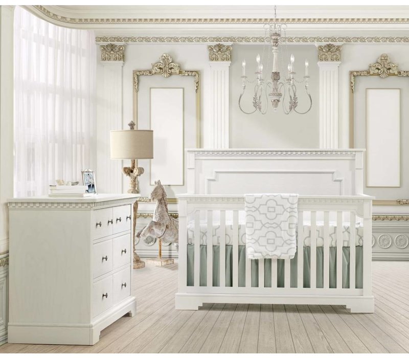 Natart Ithaca Convertible Crib In White With Double Dresser