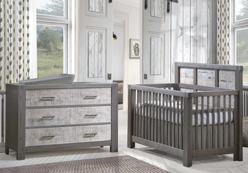 Natart Natart Rustico-Moderno 4-in-1 Convertible Crib with Wood Panel (w/out rails) In Grigio-White Bark, And Dresser