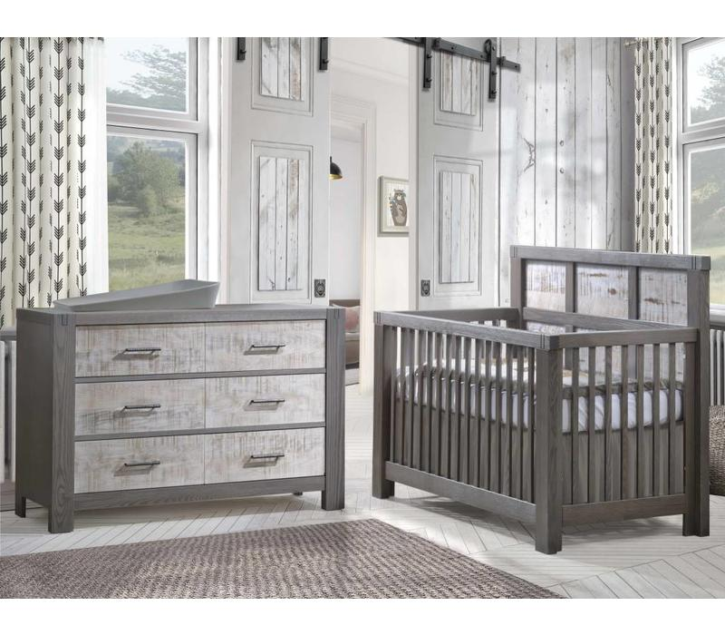 Natart Rustico-Moderno 4-in-1 Convertible Crib with Wood Panel (w/out rails) In Grigio-White Bark, And Dresser