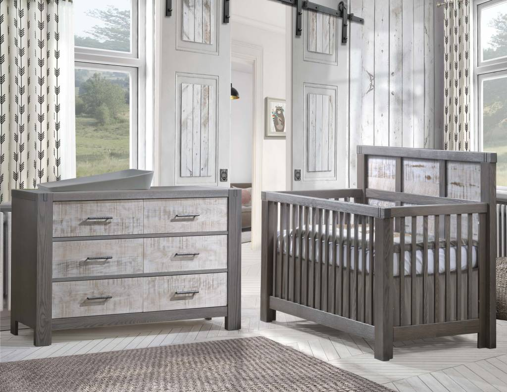 Bon Natart Rustico Moderno 4 In 1 Convertible Crib With Wood Panel (w
