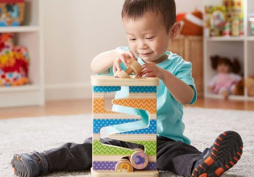 Melissa And Doug Melissa And Doug First Play Wooden Safari Zig-Zag Tower With 4 Rolling Pieces