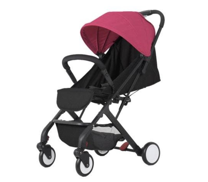 Baby Roues Roll And Go Stroller In Black Frame- Pink Canopy