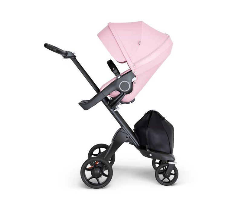2018 Stokke Xplory Black Chassis -Stroller Seat Lotus Pink and Black Handle
