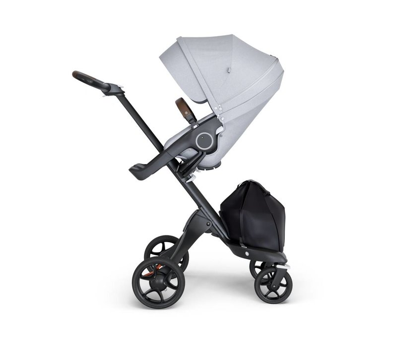 2018 Stokke Xplory Black Chassis -Stroller Seat Grey Melange and Brown Handle