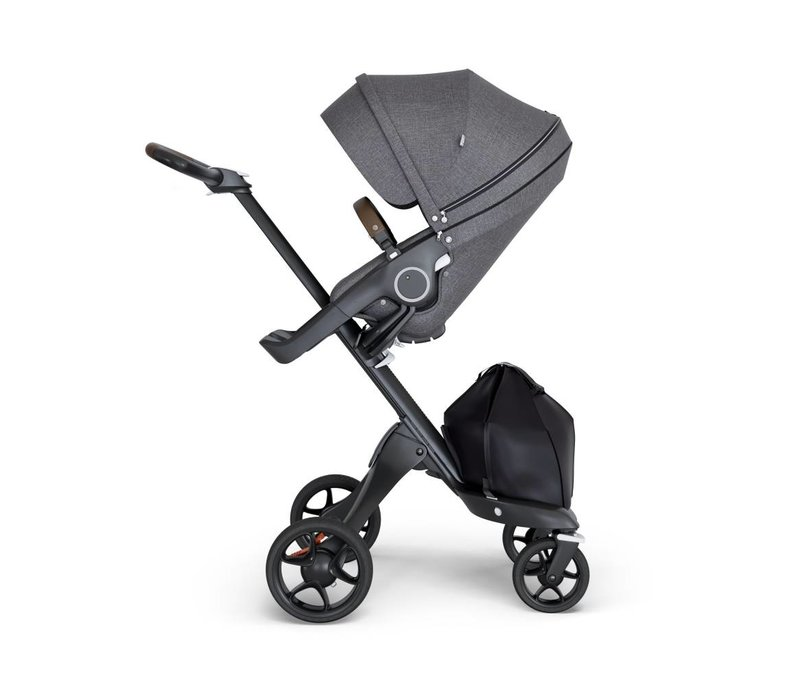 2018 Stokke Xplory Black Chassis -Stroller Seat Black Melange and Brown Handle