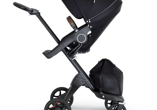 Stokke 2018 Stokke Xplory Black Chassis -Stroller Seat Black and Brown Handle