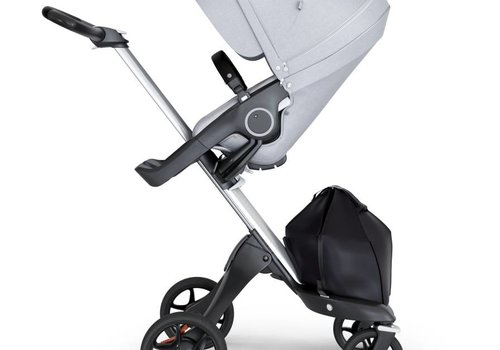Stokke 2018 Stokke Xplory Silver Chassis -Stroller Seat Grey Melange and Black Handle