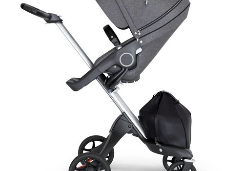 Stokke 2018 Stokke Xplory Silver Chassis -Stroller Seat Black Melange and Black Handle