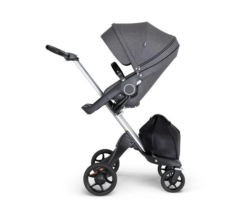 2018 Stokke Xplory Silver Chassis -Stroller Seat Black Melange and Black Handle