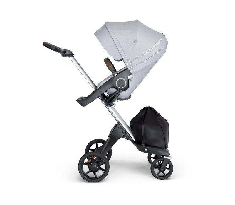 2018 Stokke Xplory Silver Chassis -Stroller Seat Grey Melange and Brown Handle