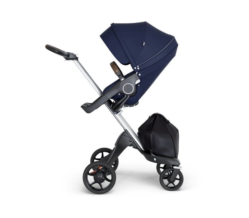 2018 Stokke Xplory Silver Chassis -Stroller Seat Deep Blue and Brown Handle