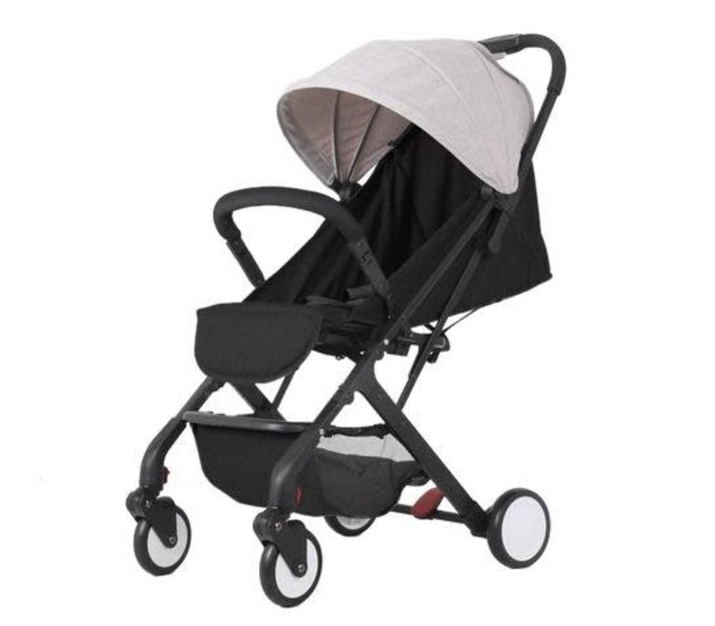 Baby Roues Roll And Go Stroller In Black Frame- Grey Canopy