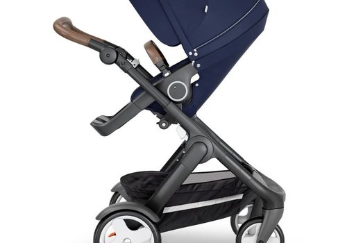 Stokke 2018 Stokke Trailz Black Frame- Brown Handle Stroller With Terrain Wheels  And Carrycot In Deep Blue