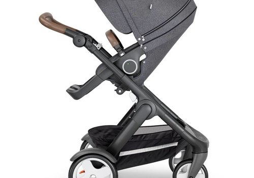 Stokke 2018 Stokke Trailz Black Frame- Brown Handle Stroller With Terrain Wheels  And Carrycot In Black Melange