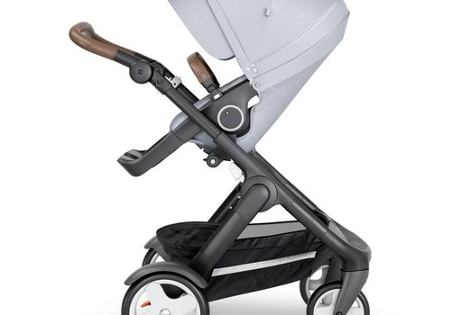 Stokke 2018 Stokke Trailz Black Frame- Brown Handle Stroller With Terrain Wheels  And Carrycot In Grey Melange