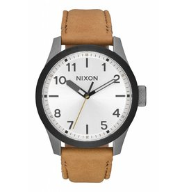 NIXON - SAFARI LEATHER GUN METAL/SILVER