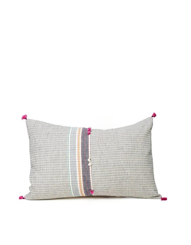 Injiri Small Check Cotton Lumbar Pillow