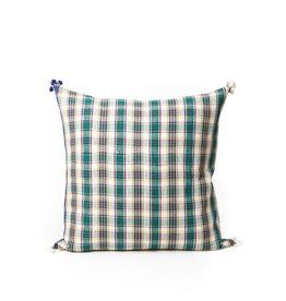 Injiri Green Plaid Pillow