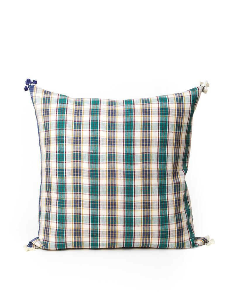 Injiri Green Plaid Pillow