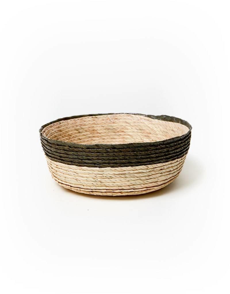 Makaua Round Palm Leaf Basket Natural/Drk Green Stripe Small