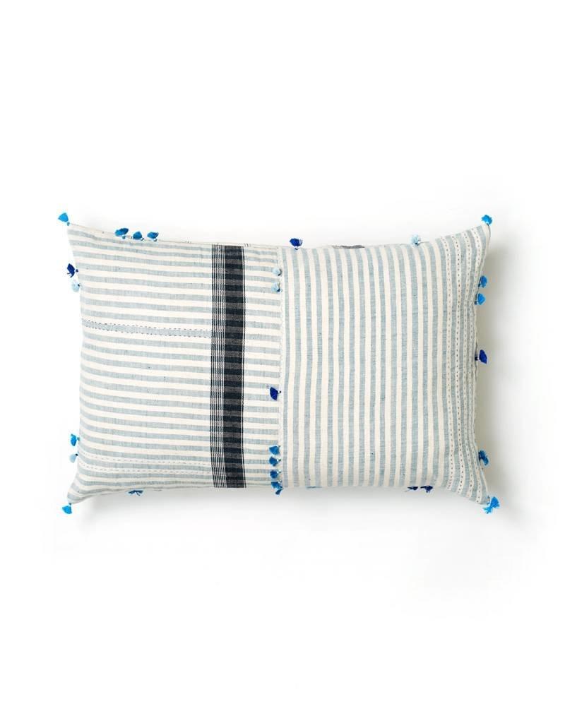 Injiri Teal Stripe Lumbar Pillow
