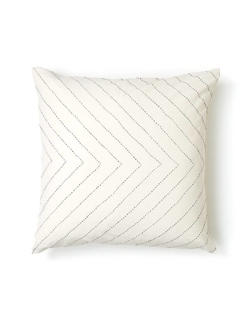 Anchal Project Embroidered White Arrow Pillow