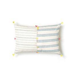 Injiri Teal Blue Multi Stripe Cotton Lumbar Pillow