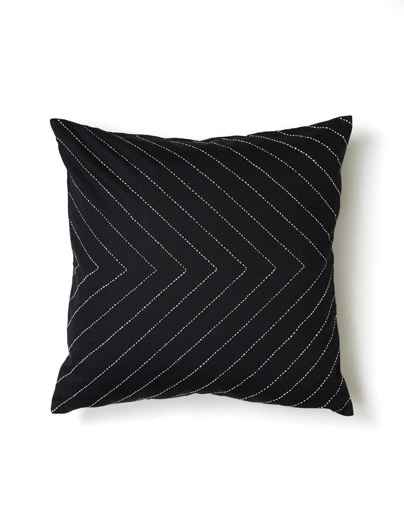 Anchal Project Embroidered Black Arrow Pillow