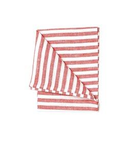 Fog Linen Red & White Stripe Linen Kitchen Towel