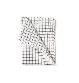 Fog Linen Black Grid Linen Kitchen Towel (Jenn)