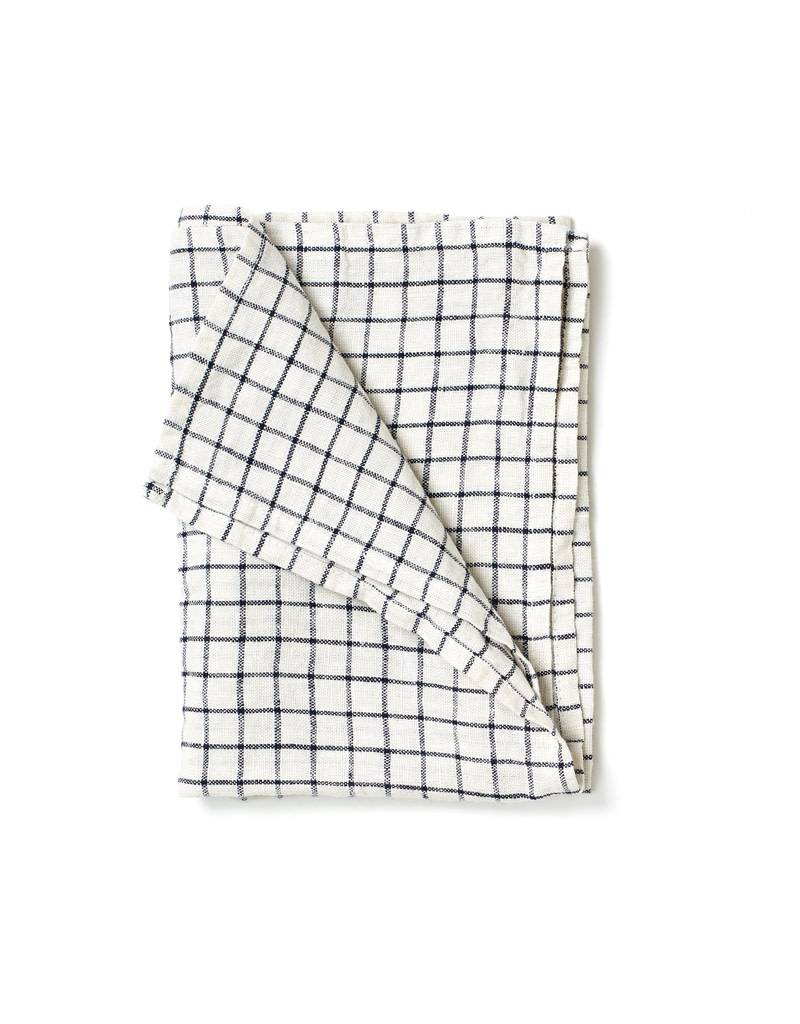 Fog Linen Black Grid Linen Kitchen Towel (Jenn)